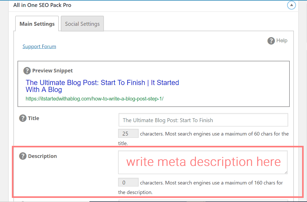 Where To Add Your Meta Description For Your Blog Post