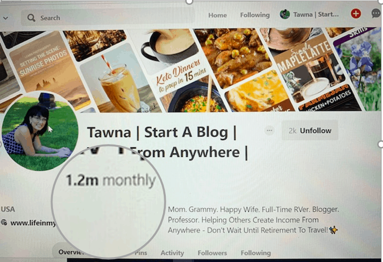 screenshot of it started with a blog 1.2 million pinterest views monthly