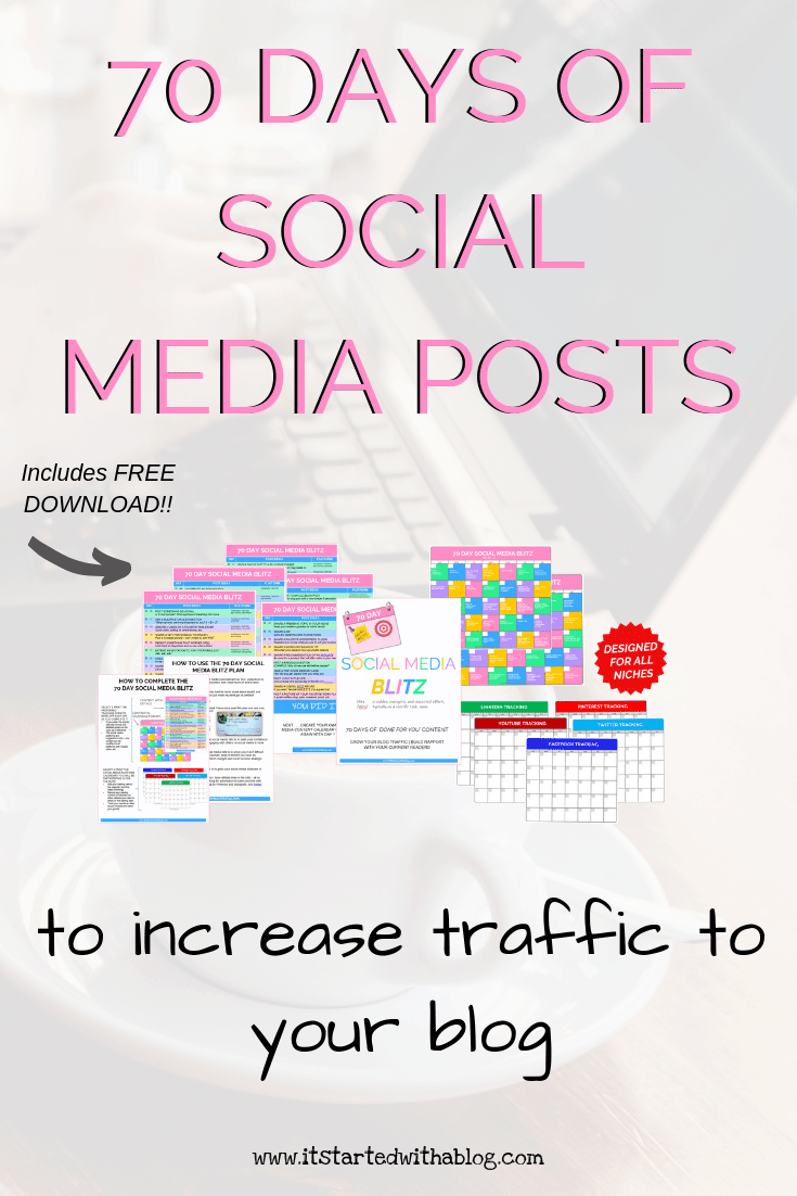 Are you feeling bogged down with trying to figure out what to post on your social media channels every day? The 70 Day Social Media Blitz will take your social media to the next level and give you everything you need to post consistently! Designed for bloggers in all niches! #facebook #pinterest #twitter #socialmedia #contentcreation