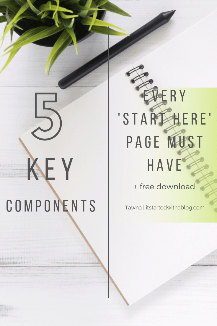 key components for a start here page to grow your blog