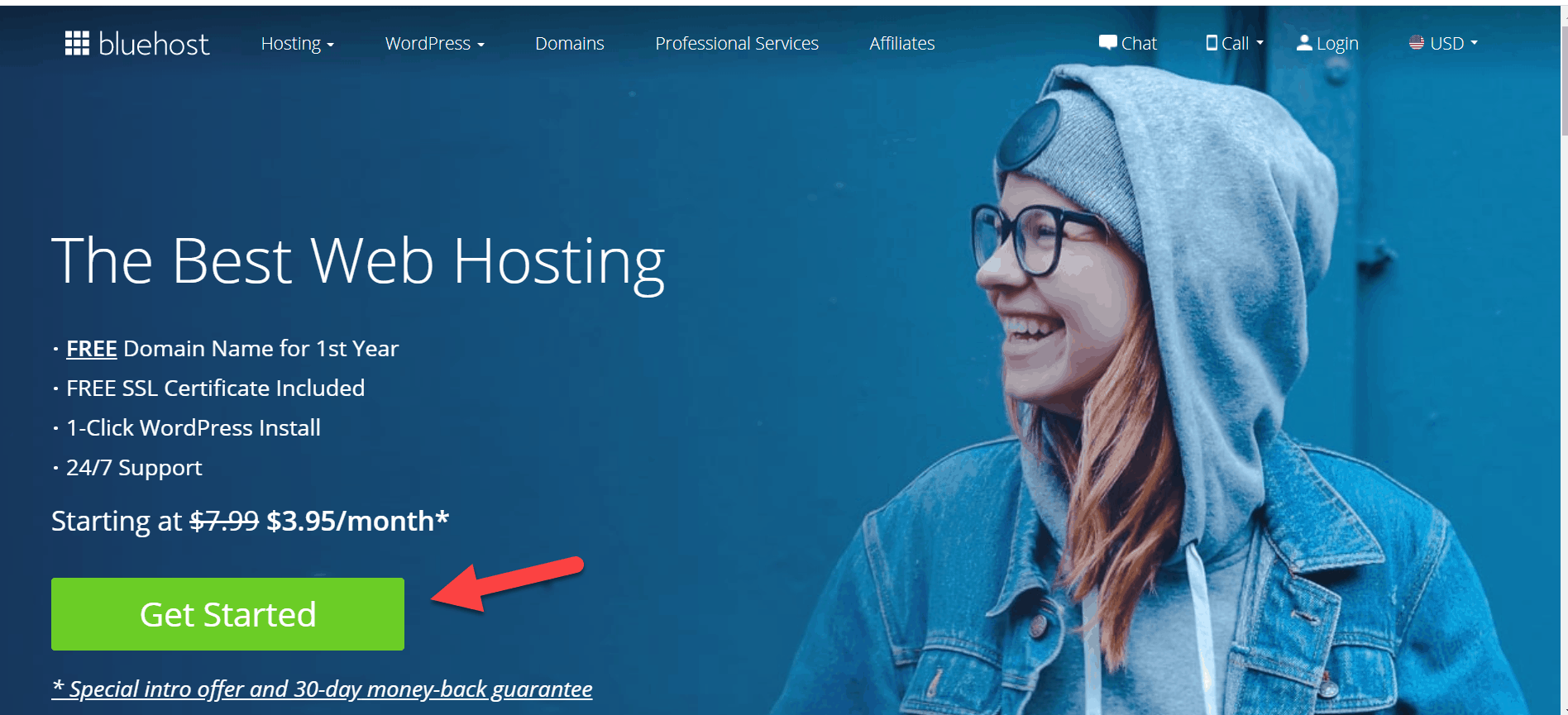 get started with blue host screenshot