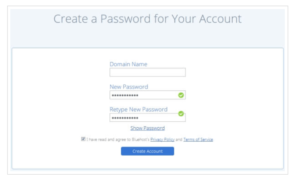Choose a secure password for your Bluehost account to keep your website safe