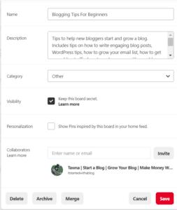 how to Create a Pinterest board screenshot