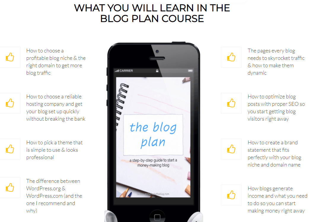 the blog plan will teach you these things about starting a blog