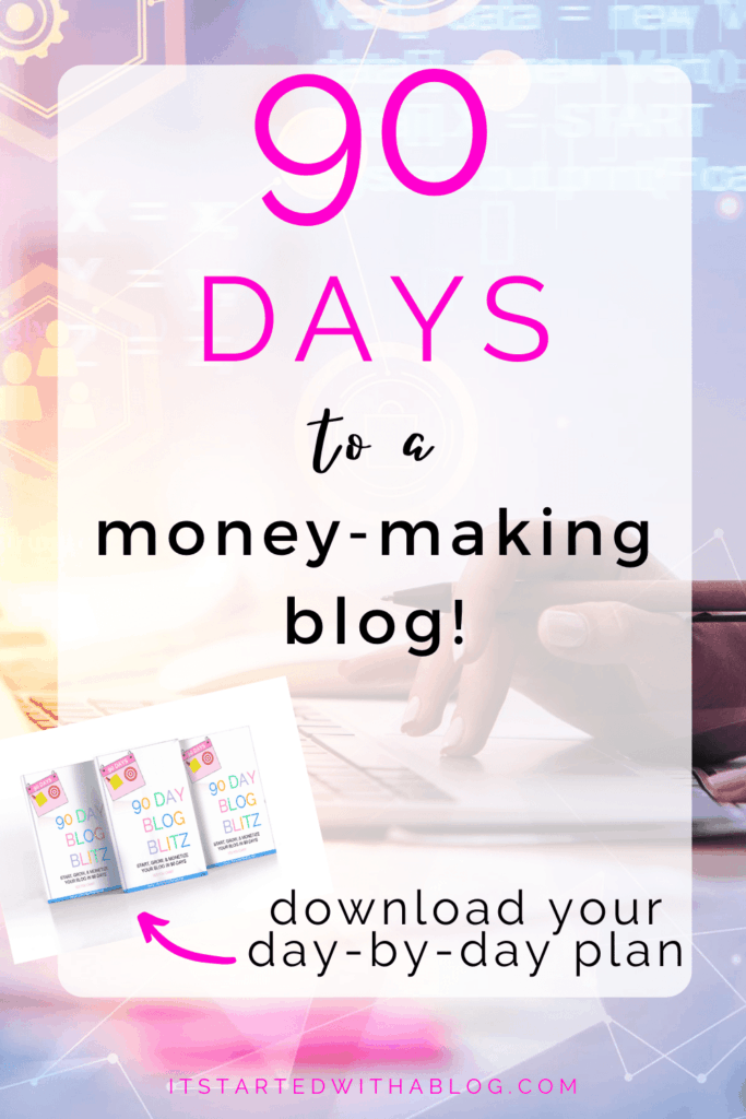 typing on computer to make money with your blog in 90 days itstartedwithablog.com