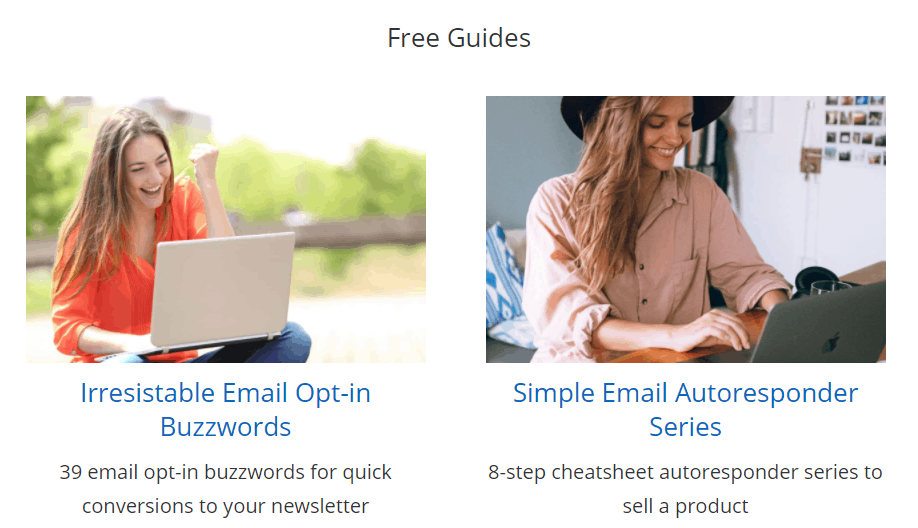 screenshot of free guides for it started with a blog subscribers